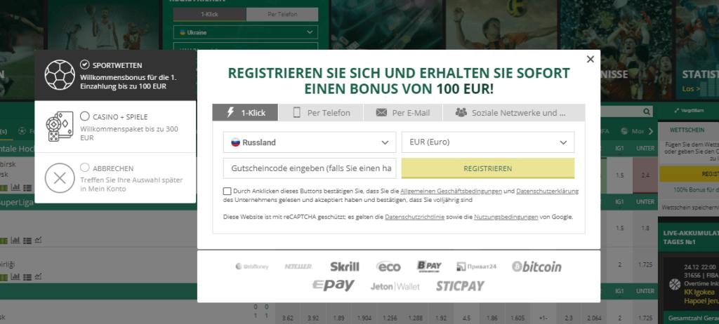 BetWinner Registrieren